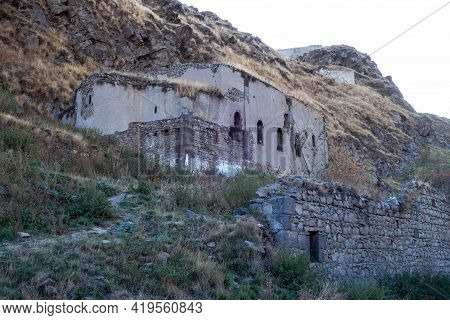Remains Of Nameless Russian Orthodox Church & Its Stone Fence In Kars, Turkey. Building Abandoned, I