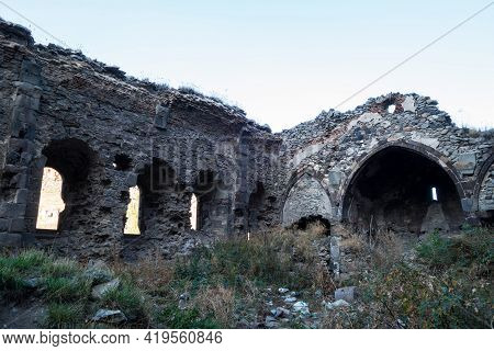 Ruins Of Nameless Russian Orthodox Church, Kars, Turkey. Remains Abandoned, There's No Roof. Buildin