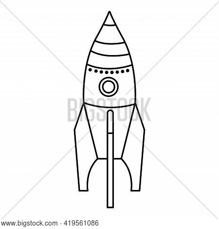 Isolated Rocket Toy With Round Window Doodle. Kids Toy On White Background. Hand Drawing Vector Illu