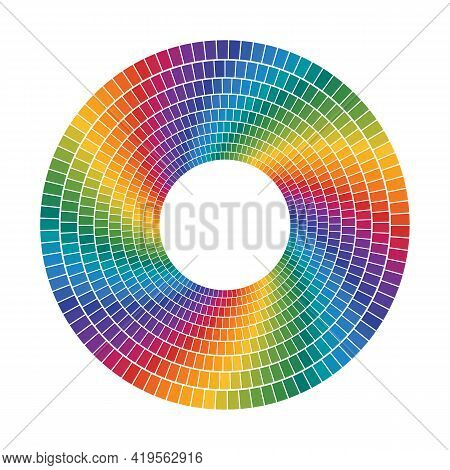 Color Tiles That Makes A Concentric Circles. Full Color Spectrum Rainbow Dashed Rings. Vector Elemen