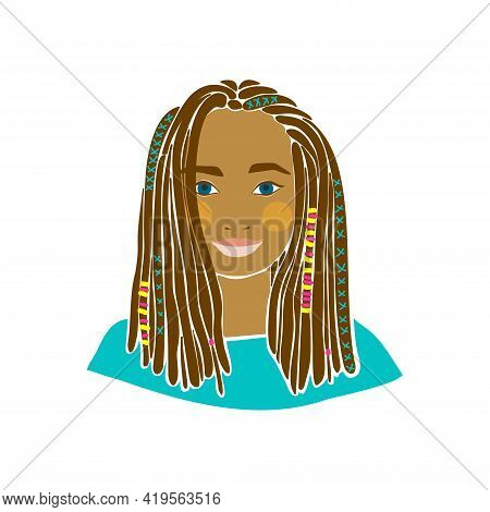 Beautiful With Girl African Braids Drawn For Decoration Design. Modern Vector Illustration. Afro Ame