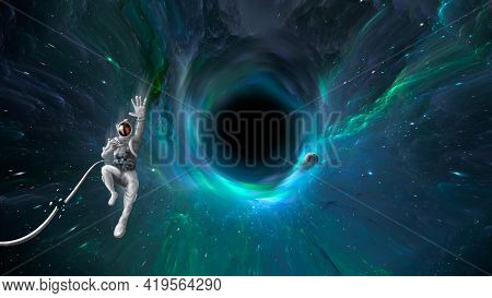 Space Background. Astronaut Falling Into Colorful Nebula Fractal Tunnel, Black Hole With Planet. Ele