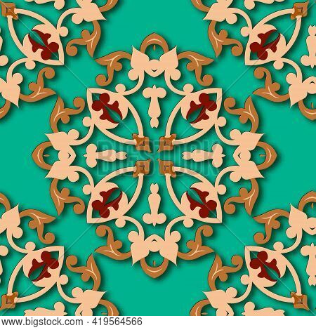 3d Floral Damask Seamless Pattern. Arabesque Ornamental Vector Background. Grunge Repeat Turquoise C