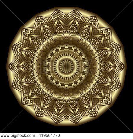 Gold 3d Flower. Luxury Round Mandala Pattern. Rosette. Vector Background. Surface Ornate Deco Backdr