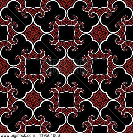Floral Black White Red Greek Seamless Pattern. Vector Ornamental Background. Vintage Repeat Backdrop
