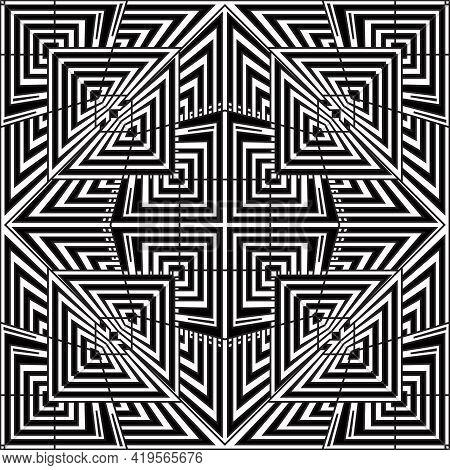 Geometric Lines Seamless Pattern. Greek Black And White Stripes Background. Repeat Striped Tribal Ba