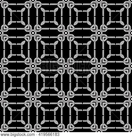 Ropes And Strings Seamless Pattern. Black And White Vector Background. Repeat Decorative Knitted Orn