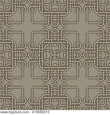 Ropes And Strings Seamless Pattern. Ethnic Ornamental Vector Background. Repeat Decorative Ornaments