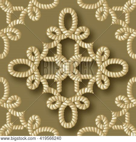 Ropes Seamless Pattern. Gold 3d Vector Background. Repeat Intricate Floral Ornaments. Hand Drawn Tex