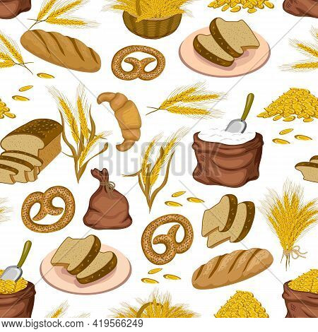Bakery Elements In A Seamless Pattern.bakery Products, Ears, Bags Of Grain And Flour On A White Back