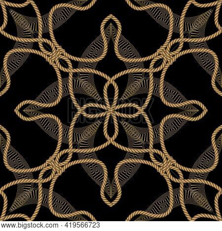 Ropes Seamless Pattern. Modern Ornamental Vector Greek Background. Repeat Floral Gold Strings Orname