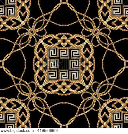 Ropes Seamless Pattern. Modern Ornamental Vector Greek Background. Repeat Decorative Gold Strings Or