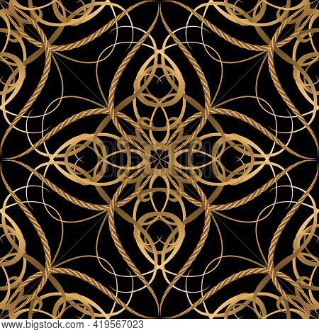 Vintage Luxury Seamless Pattern. Ornamental Ropes Background. Vector Gold Strings And Ropes Vintage