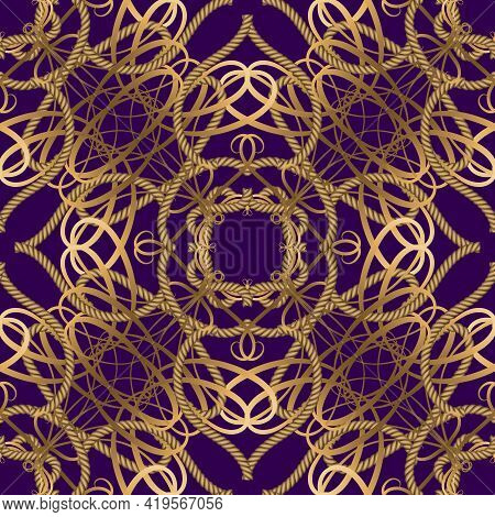 Textured Luxury Seamless Pattern. Vintage Ornamental Ropes Background. Vector Intricate Gold Strings