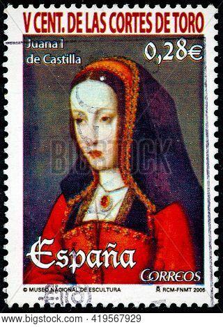 Spain - Circa 2005: A Stamp Printed In The Spain Shows Juana I De Castilla, In V Centenary Of The Co