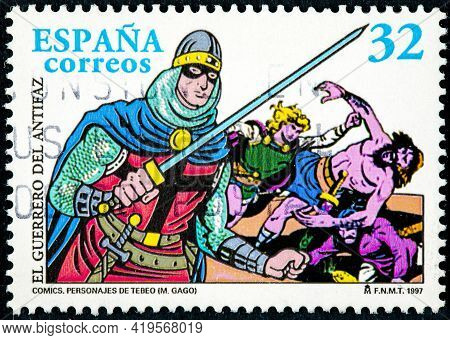Spain - Circa 1997: A Stamp Printed In The Spain Shows El Guerrero Del Antifaz, Character From The C
