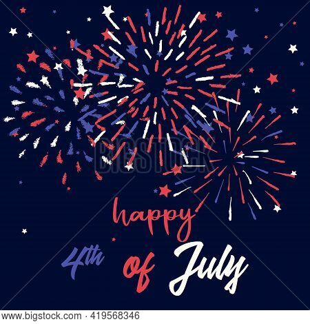 Happy 4th Of July Patriotic Greeting Card Template. Vector Fireworks For American Holiday Celebratio