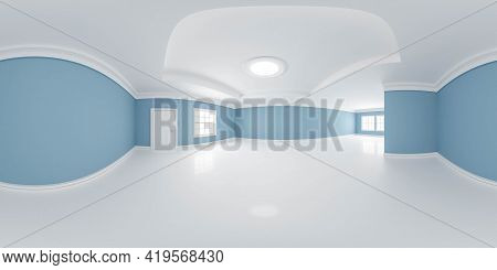 Full 360 Panorama Of Empty Classic Design Room With White Floors And Blue Walls 3d Render Illustrati