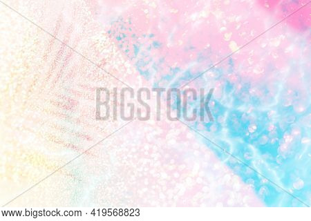 Pink and blue palm leaf shadow background