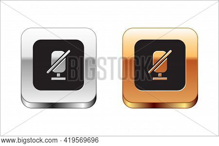 Black Mute Microphone Icon Isolated On White Background. Microphone Audio Muted. Silver And Gold Squ