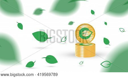 Gold Coins Of Cryptocurrency Chia On A White Background. Chia Leaves Fly And Fall. Concept Of Mining