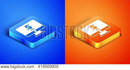 Isometric Mute Microphone On Computer Icon Isolated On Blue And Orange Background. Microphone Audio