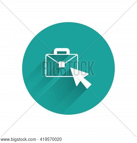 White Online Working Icon Isolated With Long Shadow. Freelancer Man Working On Laptop At His House.