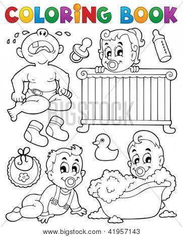 Coloring book babies theme image 1 - vector illustration.