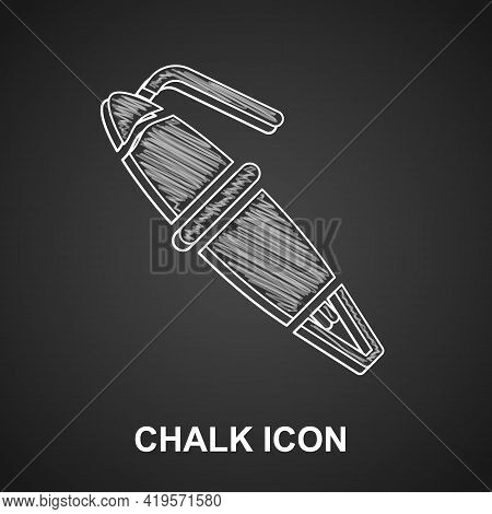 Chalk Fountain Pen Nib Icon Isolated On Black Background. Pen Tool Sign. Vector