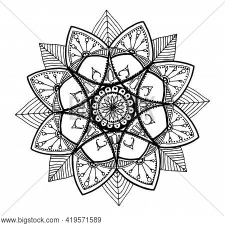Mandala. Ethnic Decorative Elements. Hand Drawn Background. Islam, Arabic, Indian, Ottoman Motifs.ma