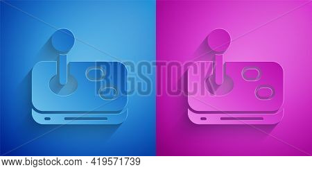 Paper Cut Joystick For Arcade Machine Icon Isolated On Blue And Purple Background. Joystick Gamepad.