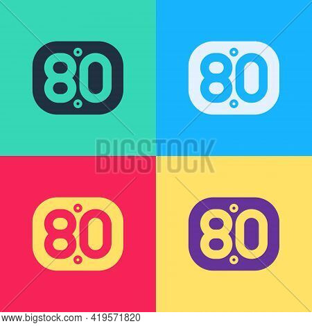 Pop Art 80s Retro Icon Isolated On Color Background. Eighties Poster. Vector