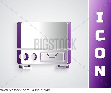 Paper Cut Old Video Cassette Player Icon Isolated On Grey Background. Old Beautiful Retro Hipster Vi