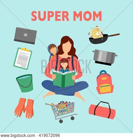 Super Mom With Multitasking- Cooking, Cleaning, Taking Care Of Baby And Office Work. Busy Mother.