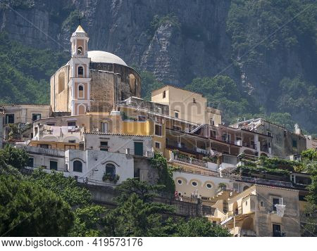 Low Angle View Of The Catholic Church Madonna Delle Grazie, Our Lady Of Graces, On A Hillside In Pos