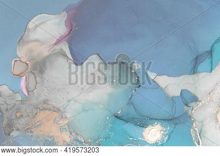 Luxury Ocean Abstract. Hand Painted On Canvas. Alcohol Inks Modern Sea Splash. Ocean Waves. Watercol