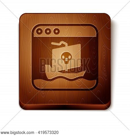 Brown Internet Piracy Icon Isolated On White Background. Online Piracy. Cyberspace Crime With File D
