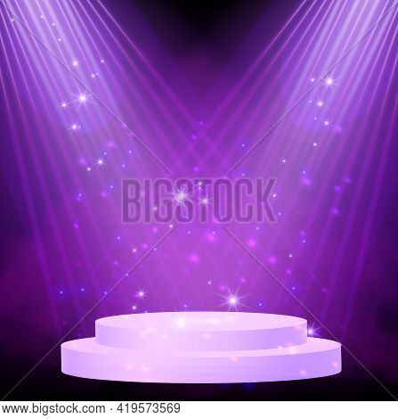 Purple Spotlight. Bright Lighting With Spotlights Of The Stage With Purple Dust And Cylinder Podium.