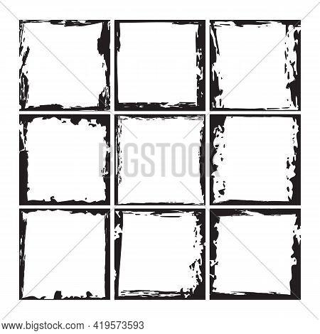 Black Ink Square Grunge Frames Collection. Vintage Photo Frames Template Set. Messy Design Border. J
