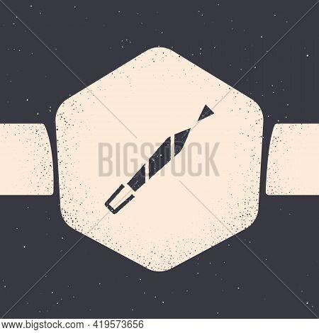 Grunge Marijuana Joint, Spliff Icon Isolated On Grey Background. Cigarette With Drug, Marijuana Ciga