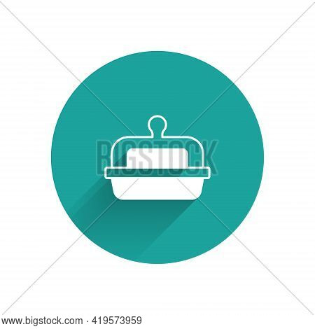 White Butter In A Butter Dish Icon Isolated With Long Shadow. Butter Brick On Plate. Milk Based Prod