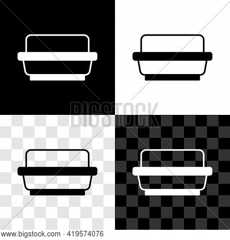 Set Butter In A Butter Dish Icon Isolated On Black And White, Transparent Background. Butter Brick O