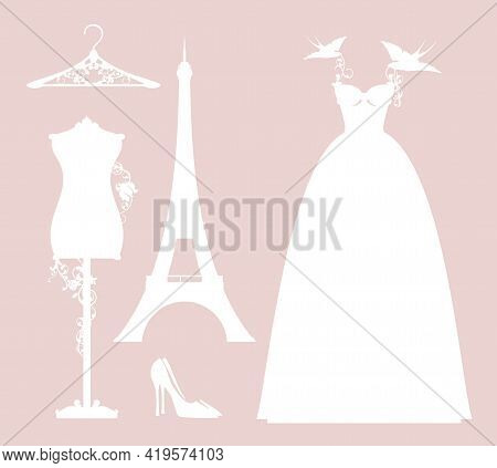 Luxuriuos Paris Haute Couture Fashion Atelier Design Set With Vector Silhouettes Of Wedding Dress An