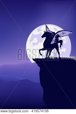 Mythical Pegasus Horse Standing At Mountain Cliff Against Full Moon - Fairy Tale Winged Stallion Sil