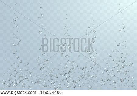Underwater Background With Fizzing Air Bubbles. Fizzy Sparkles In Water, Sea, Aquarium, Ocean.