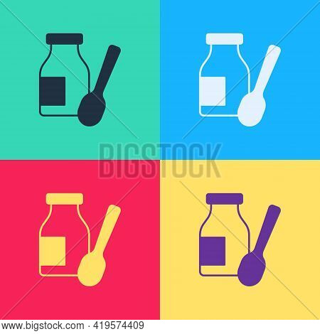 Pop Art Drinking Yogurt In Bottle With Spoon Icon Isolated On Color Background. Vector
