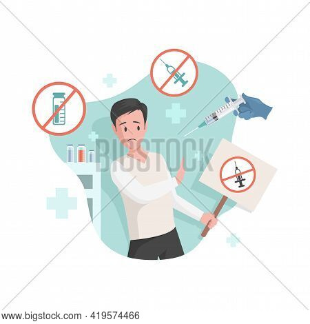 Frightened Man Afraid Of Vaccination Vector Flat Illustration. Scared Male Character Against Vaccina