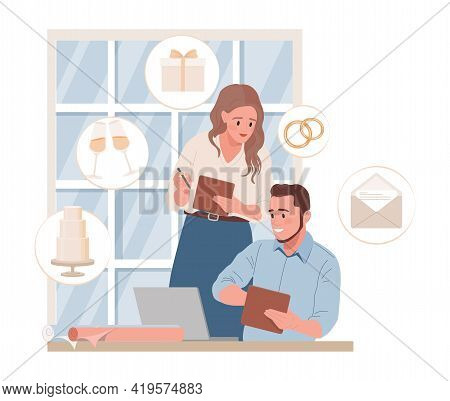 Wedding Managers Or Bride And Groom Planning Wedding Ceremony Vector Flat Illustration. Smiling Man