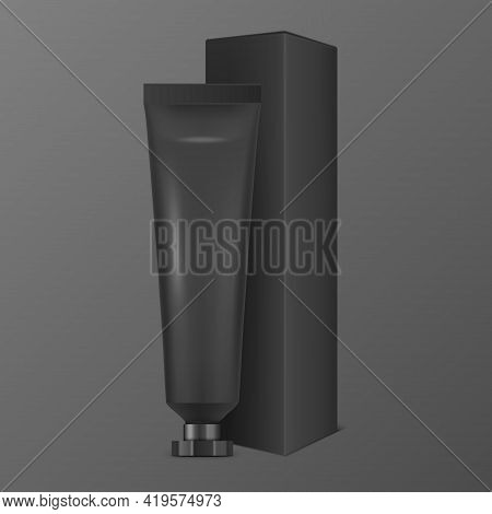 Vector 3d Realistic Plastic, Metal Black Tooth Paste, Cream Tube, Carton Packing Isolated On Black B