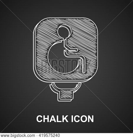 Chalk Disabled Wheelchair Icon Isolated On Black Background. Disabled Handicap Sign. Vector